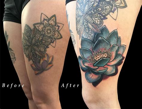 thigh cover up tattoos lotus flower thigh color coverup by laabs tattoonow