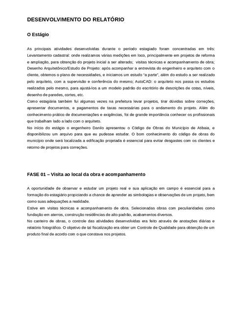 Relatorio do estagio imprimir - Relatório - estagio