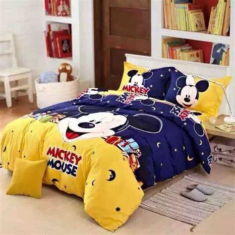 Mickey Mouse Toddler Bedding Set For Boys Home Textiles 100 Cotton 3d Boys Mickey Mouse Bedding Set King Size