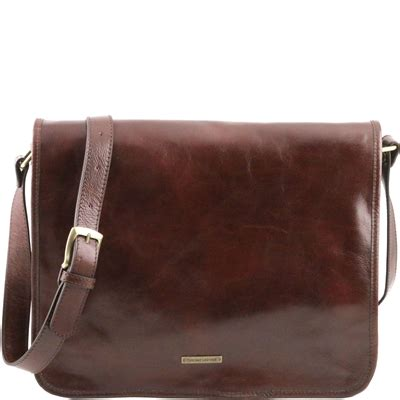 tl141254 messenger men's brown leather bag | avalina leather