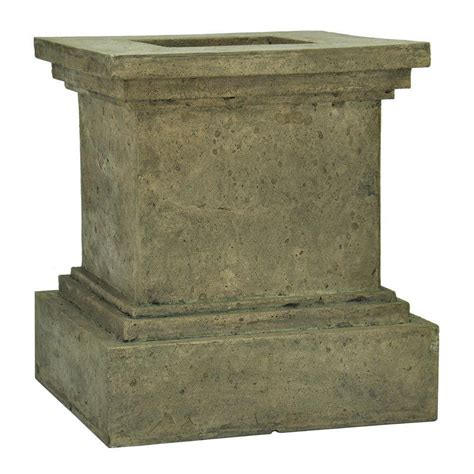 granite pedestal mpg 18 in h cast square pedestal planter aged