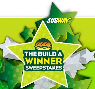 Subway Sweepstakes - subway build a winner sweepstakes