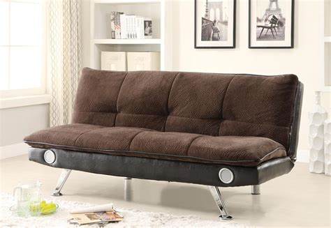 futon with speakers contemporary brown futon with built in bluetooth speakers