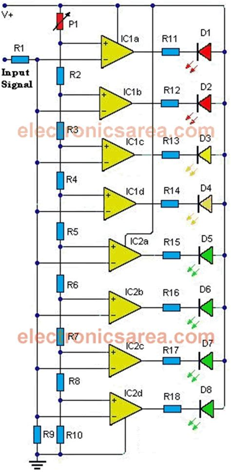 integrated circuit lm324 8 led vu meter made of ic lm324 electronics area