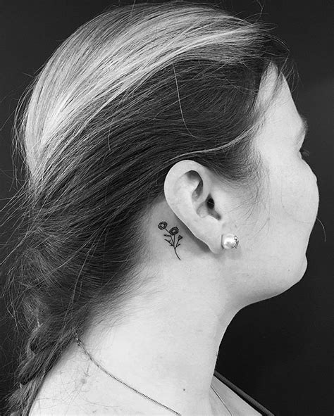 small flower tattoos behind ear chamomile jonboytattoo flower ear small