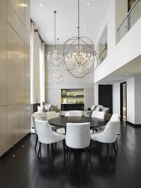 crystal chandeliers  dining room design room decor