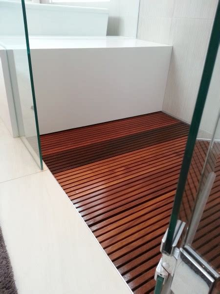 Teak Shower Floor Insert With Modern Wooden Shower Stall