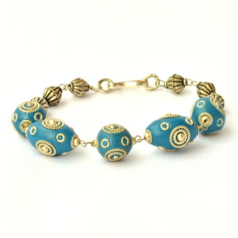 Handmade Metal Rings - handmade bracelet blue studded with metal