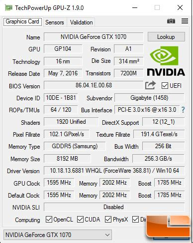gigabyte geforce gtx 1070 g1 gaming video card review