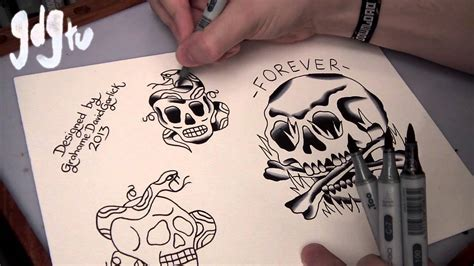 how to paint tattoo flash with markers old skull