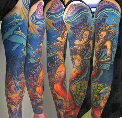 underwater sleeve tattoo infamous company tattoos new school mermaid