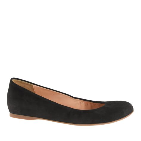 shoes flats black j crew cece suede ballet flats in black lyst
