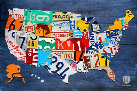 small map of the united states license plate map of the united states small on blue