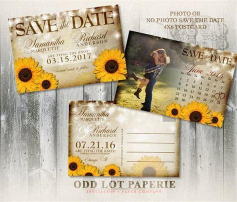 sunflower printable rustic save  date postcard  oddlotpaperie