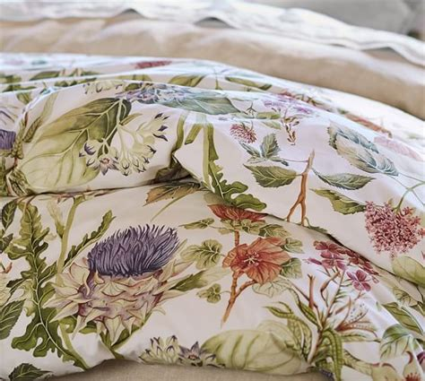How To Cover Dining Room Chairs thistle floral print organic duvet cover amp sham pottery barn