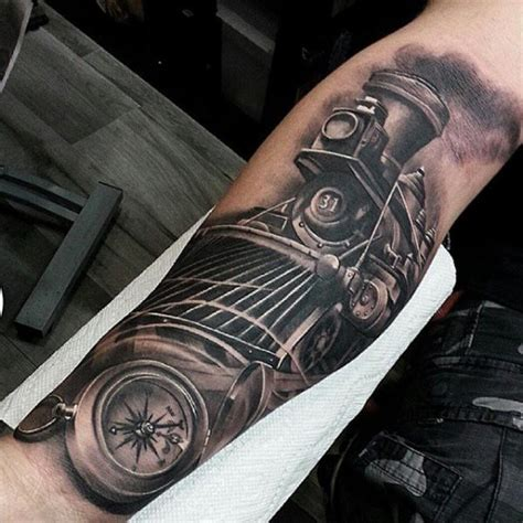arm realistic train tattoo by inkaholik tattoos