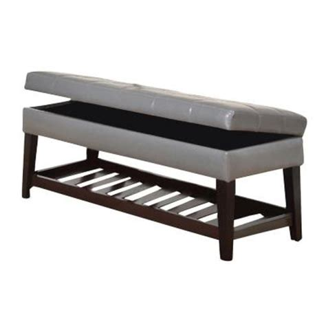 grey leather storage bench worldwide homefurnishings faux leather storage bench with