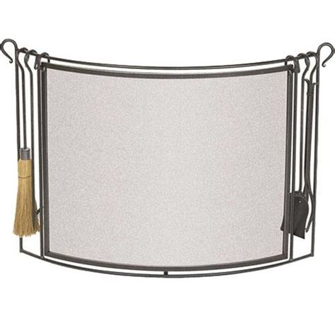 bowed iron fireplace screen with integrated tool set