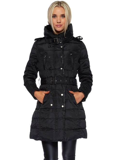 Black Quilted Coats For by Black Faux Fur Collar Belted Quilted Coat
