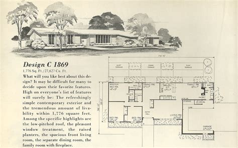 Vintage House Plans 1869 Antique Alter Ego 1960 S Home Plans