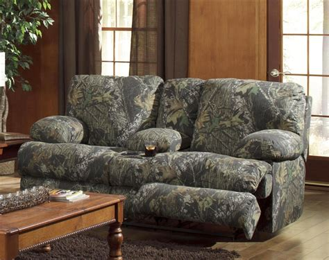 camo reclining loveseat wintergreen reclining console loveseat in mossy oak