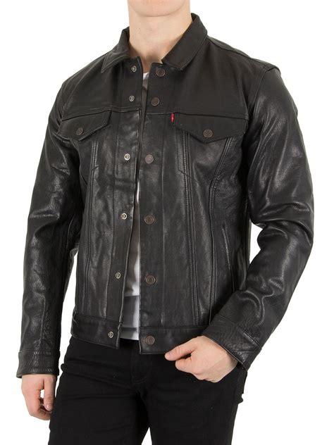 Jaket Kulit Front Belt levi s s buffalo leather trucker jacket black ebay