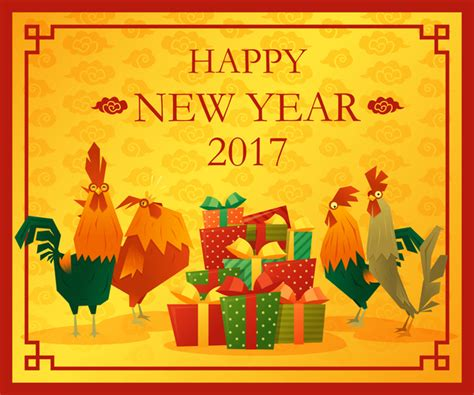 new year animal 2017 happy new year 2017 background with rooster vector 05