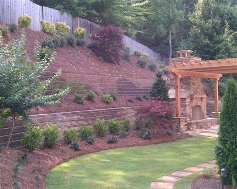 landscaping ideas for hillside backyard steep hillside landscaping ideas i think the mulch might