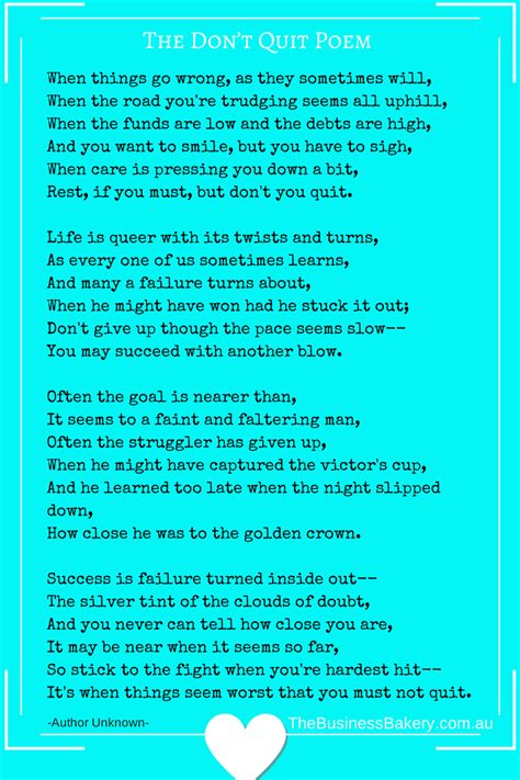 Don T Quit the don t quit poem the business bakery bickerstaff