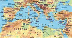 Mediterranean Sea On World Map by Map Of Mediterranean Sea Several Countries Map In The