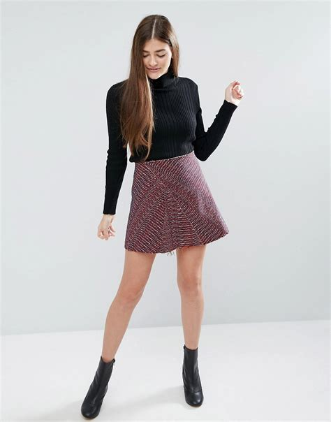 asos asos a line jacquard mini skirt with edge at asos