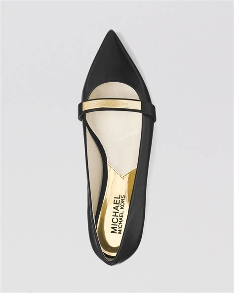 Mk Flatshoes Mg6191fs lyst michael michael kors pointed toe flats jess in black