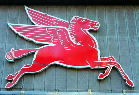 mobil pegasus sign 92 inch cast iron original left to right mobil