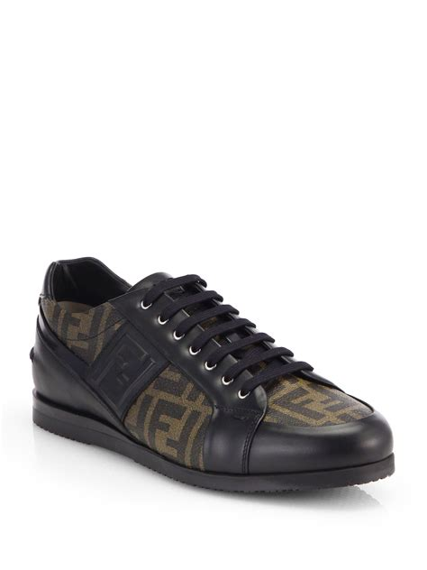 fendi sneakers fendi zucca softy lace up leather sneakers in brown for