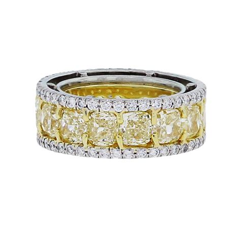Eternity Band by Fancy Yellow Gold Platinum Eternity Band At 1stdibs