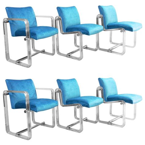 six turquoise lucite and chrome dining chairs 1970s at