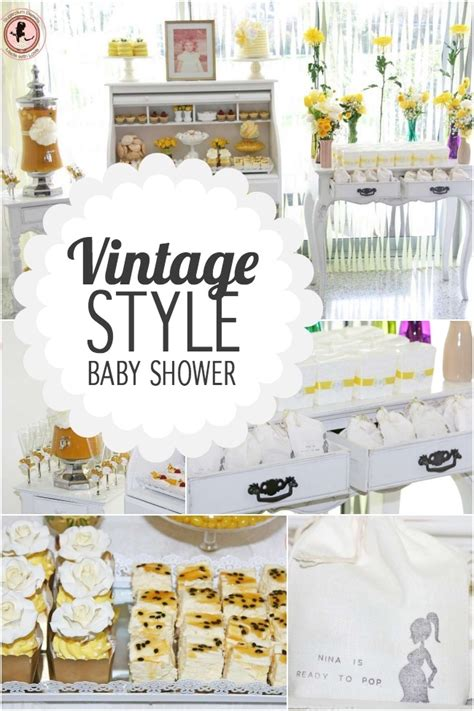 Vintage Baby Shower by Baby Shower Vintage En Blanco Y Amarillo Baby Shower