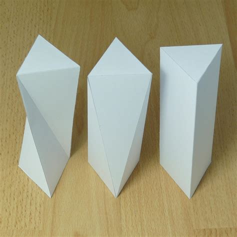 Origami Prism - paper twisted triangular prisms