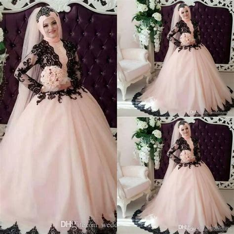 Moura Dres Syari 3 Size discount muslim wedding dresses 2016 black and pink