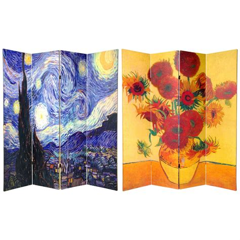 canvas room divider 6 ft sided works of gogh canvas room divider roomdividers