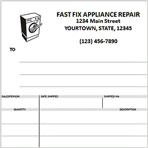 Custom Invoices Printing Home Free Appliance Repair Invoice Template