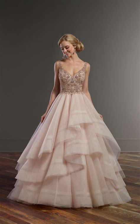 beading for wedding dresses pink wedding dress with rose gold beading martina liana