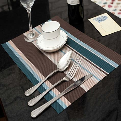 dining table protector mat 4 pcs blue stripe adiabatic placemat mat heat insulation
