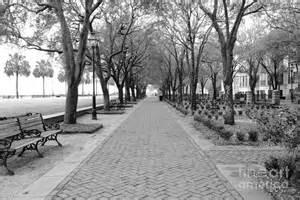 charleston waterfront park walkway black and white
