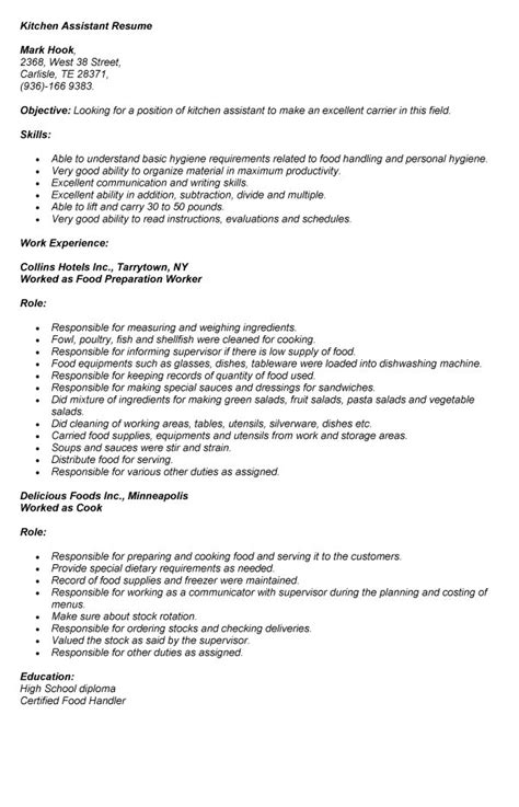 Kitchen Assistant Sle Resume by Kitchen Assistant Resume Sales Assistant Lewesmr