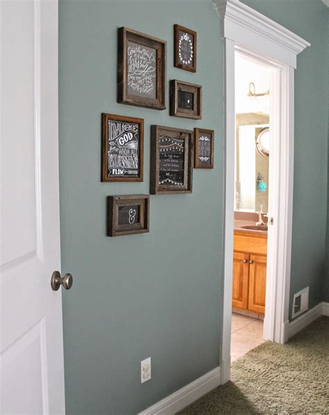 paint color valspar blue arrow rustic frames hobby lobby master bedroom