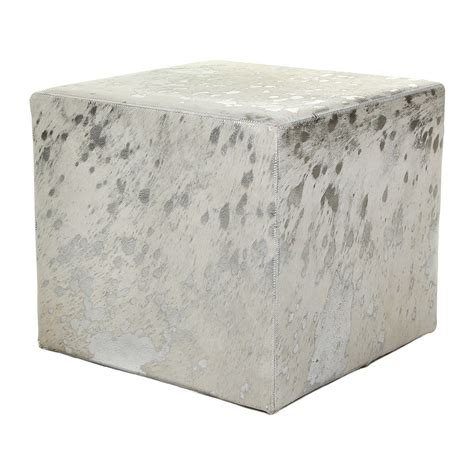 cowhide cube ottoman buy a by amara acid burnt cowhide cube pouf white