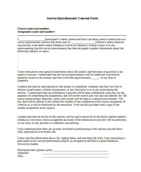 participant information sheet template 7 survey consent form sles free sle exle