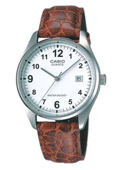 Casio Mtp 1175 E Syaura Shop 楽天市場 カシオ casio standard スタンダード アナログ 腕時計 ホワイト ブラウン 本革ベルト