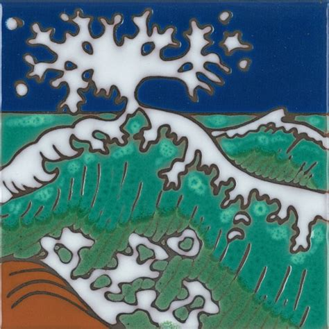 painting on ceramic tile craft handpainted ceramic art tile original hokusai style ocean